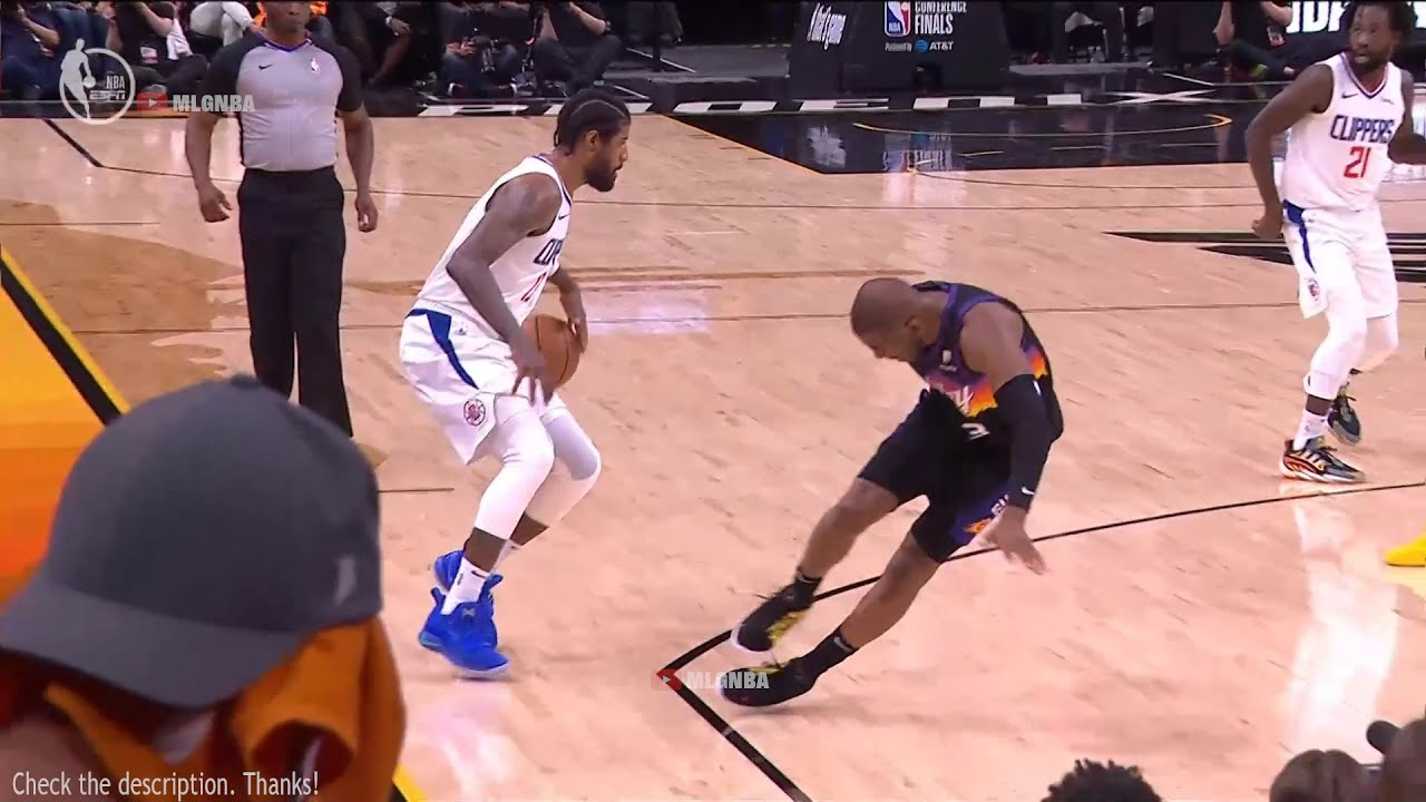 Paul George sends Chris Paul flying and drills a 3 😮 Suns vs Clippers Game 5