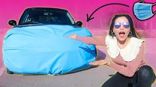 صنعت أكبر كمامة في العالم لسيارتي و طلعت بيها 🚗| ردة فعل الناس تصدم