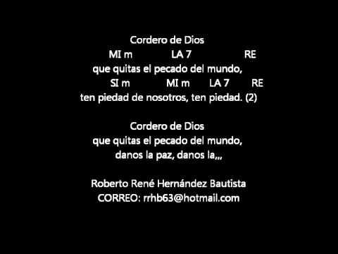 CANTOS PARA MISA - CORDERO DE DIOS 2 - LETRA Y ACORDES