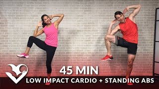 45 Min Standing Abs & Low Impact Cardio Workout for Beginners - Home Ab & Beginner Workout Routine