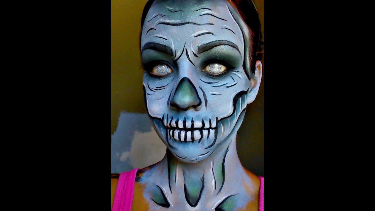 halloween series 2015 cartoon zombieskeleton face paint tutorial youtube - Skeleton Face Paint For Halloween