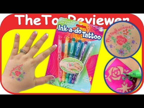 Ink-a-do Tattoo Glitter Gel Pens ToySmith INK A DO Temporary Unboxing Toy Review by TheToyReviewer