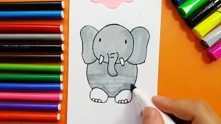 Learn To Draw Baby Elephant For Kids