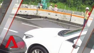 Large crack on Adam Road causes massive jam