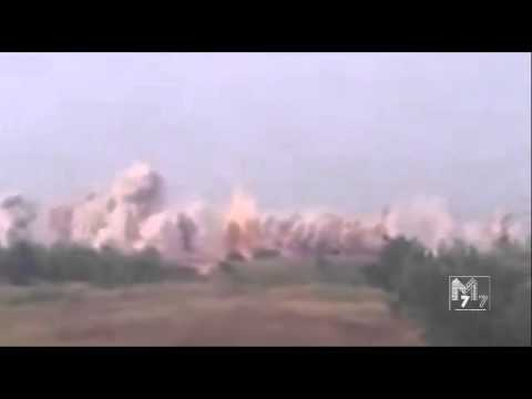 Massive Scale Artillery Attack on Ukrainian military positions near the Snizhne area in East Ukraine