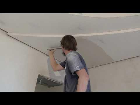 Один из способов Финишная шпаклевка потолков своими руками видео Нанесения шпатлевки