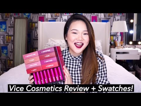 VICE COSMETICS REVIEW + LIP SWATCH (ALL 16 SHADES!)   Ashley Sandrine