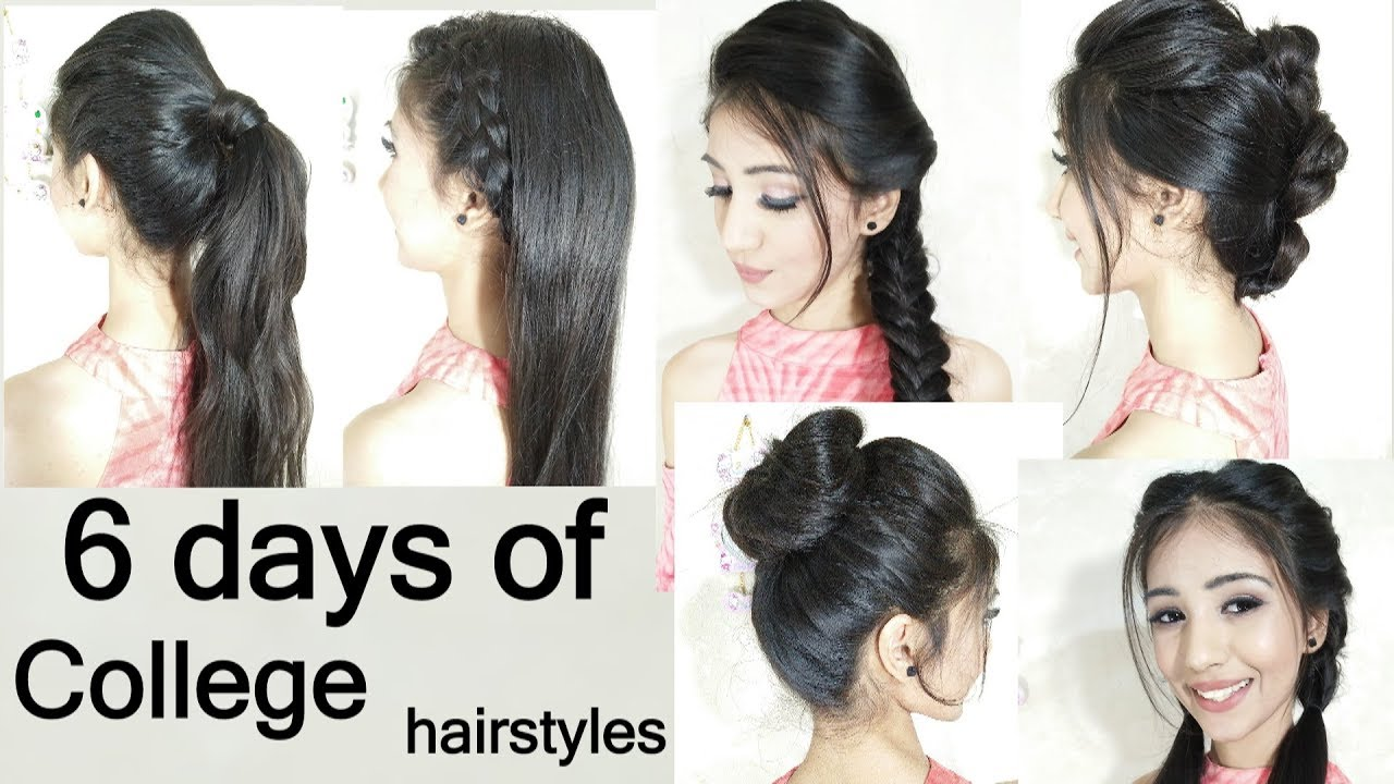 everyday hairstyle || college girls hairstyle || 6 days of college hairstyles