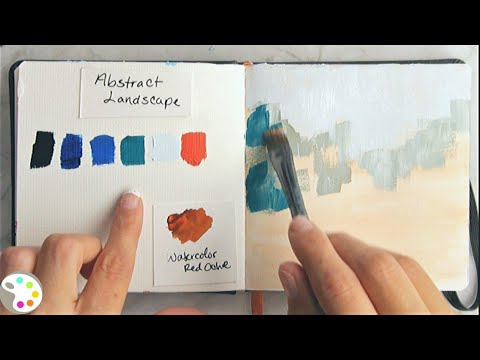 Simple Abstract Landscape Demo / Daily Art Therapy Painting #08 / Painting with Acrylics