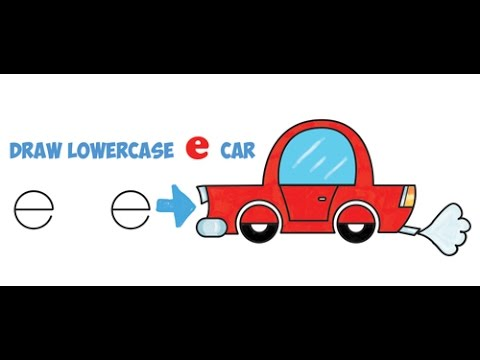 How To Draw A Cartoon Car From Lowercase Letter E Shapes