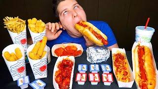 Chili Cheese Fries, Boneless Wings, Double Cheeseburger & Tater Tots • Sonic Drive-In • MUKBANG