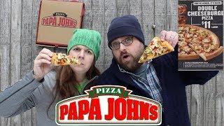 Papa John's $11 Double Cheeseburger Pizza Review | Papa John's Cheese Burger Pizza