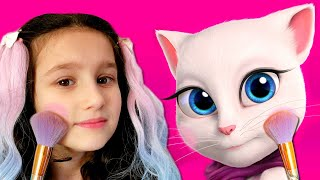 My Talking Angela and My Talking Tom | Alice plays with funny cats | For kids by Alice and TOYS