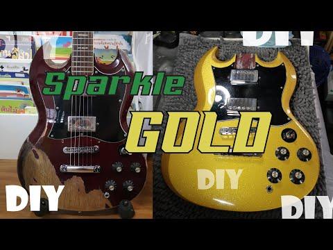 ทำสี กีตาร์ Greco SG แบบ diy Gold Sparkle guitar Diy by SAI MO