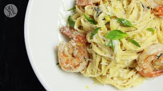 1 Minute Recipe  Creamy Shrimp Linguine