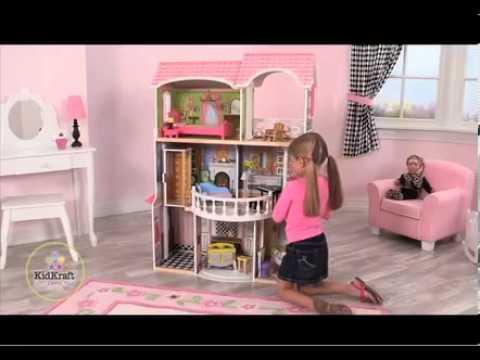 Kidkraft Magnolia Mansion Dollhouse 13 Pc Of Furniture Youtube