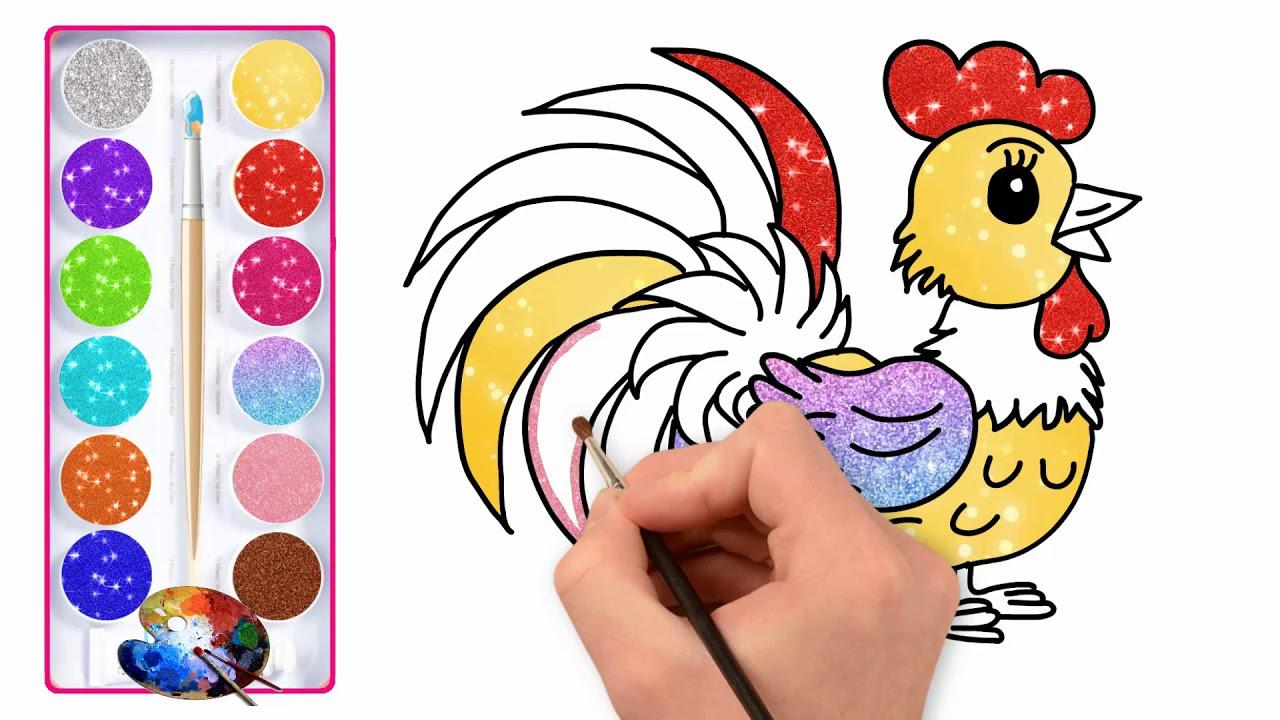 Galo Brilhante Desenho E Colorir Para Criancas Como Desenhar Um
