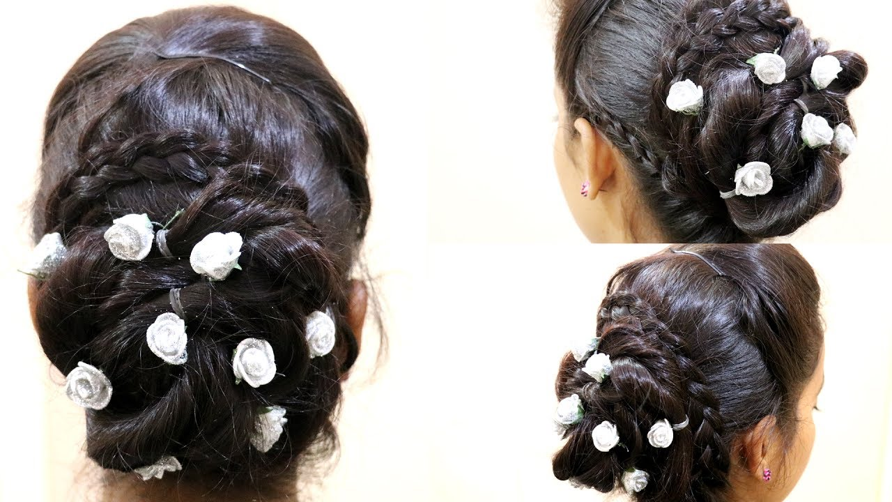 Fancy Bun Floral Bun Choti Juda New Hair Style 2017