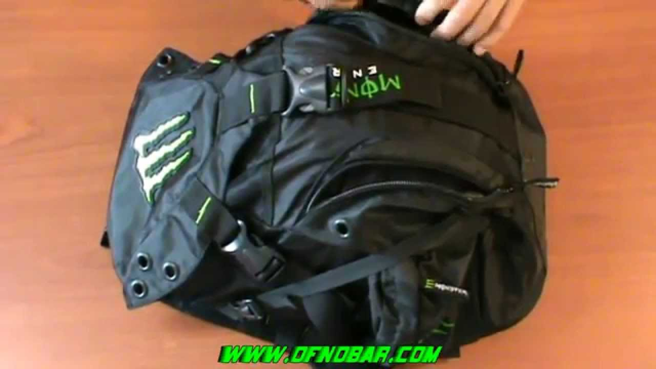 NEW Monster Energy Motorcycle Backpack Helmet Bag Review - YouTube