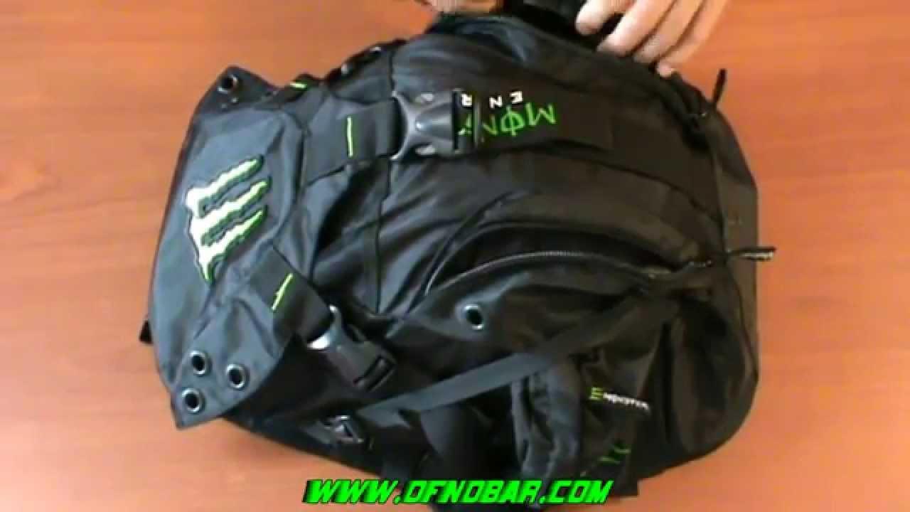 NEW Monster Energy Motorcycle Backpack Helmet Bag Review - YouTube
