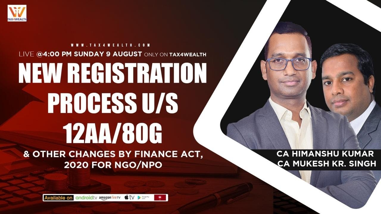 Live on Sunday 4 PM - New registration process u/s 12AB/80G of  IT Act, 1961 with CA MUkesh