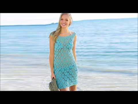Вязаное платье пляжное спицами