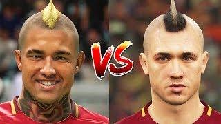 FIFA 18 vs PES 18 Roma Faces Comparison (Nainggolan, De Rossi + more)