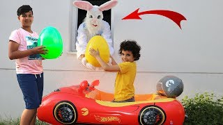 Giant bunny kids pretend play In real Life Surprise Eggs with Toys and Learn colors with