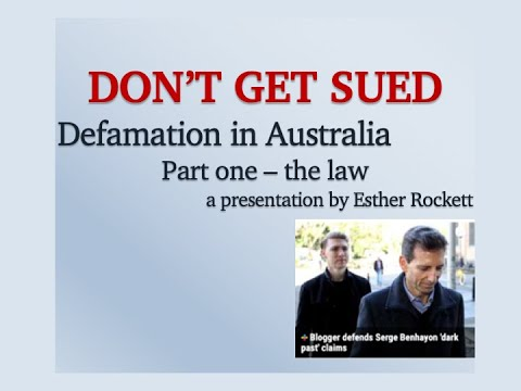 Defamation In Australia With Esther Rockett - Part 1 - The Law