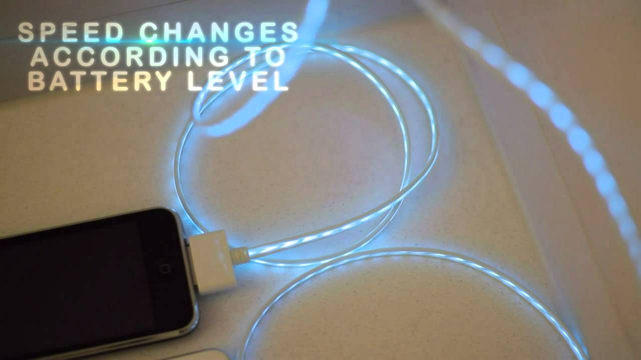 Illuminated iphone USB charge cable EL - YouTube