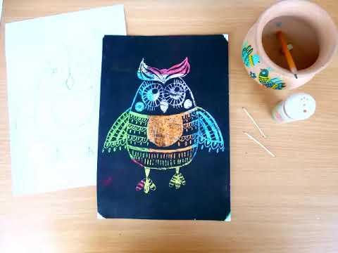 2 клас. Мистецтво. Малюємо декоративне зображення сови в техніці гратаж