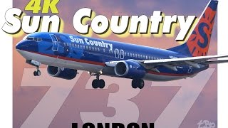 Sun Country Airlines *Rare* London Stansted Airport SunCountry Boeing 737 landing takeoff Flying