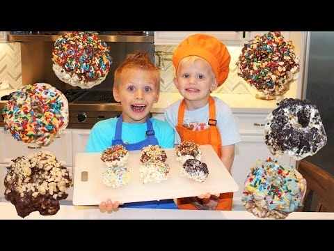 Kid Size Cooking: Caramel Popcorn DONUTS!