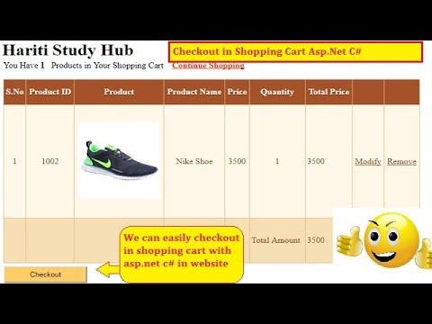 #4 Checkout Option in Shopping Cart Using Asp.Net C# Website | Hindi | Free Online Class