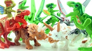 12 NEW Lego compatible Dinosaurs - Jurassic World Dinos - Tyrannosaurus Rex Triceratops Indominus