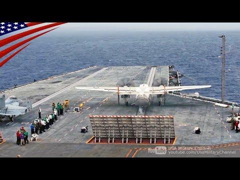 C-2グレイハウンド艦上輸送機の空母への輸送任務【スローモーション】