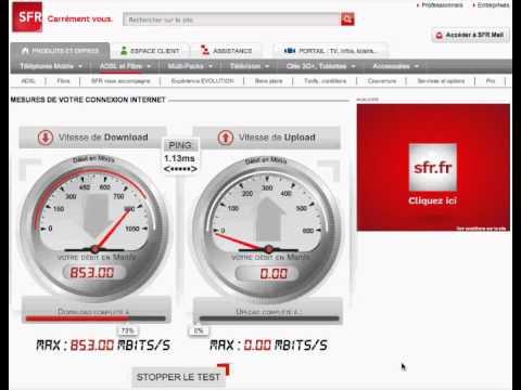 speed test 850 mb s sur une ligne fibre de sfr youtube. Black Bedroom Furniture Sets. Home Design Ideas