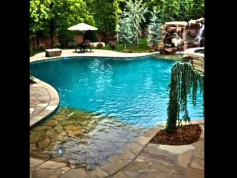 Great Images of Beach Entry Swimming Pool Designs with Waterfalls