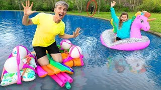 LAST to SINK in Backyard Pond Wins $10,000! (Sis VS Bro Challenge)