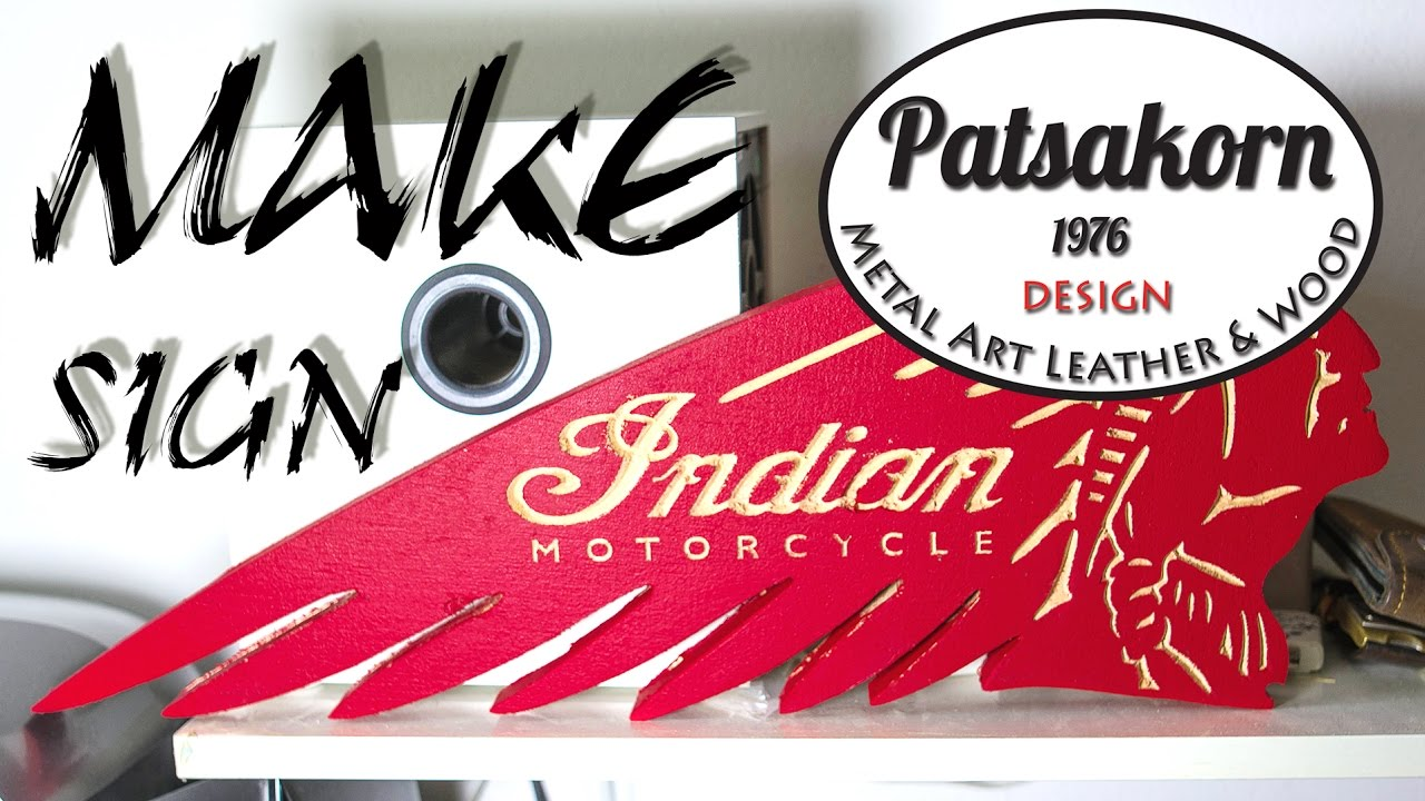 Indian Motorcycle Wooden Sign By Patsakorn Workshop