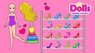 👠💄👗PAPER DOLLS SHOES & ACCESSORIES DOLLHOUSE & DRESS UP DIY TUTORIAL FOR GIRLS