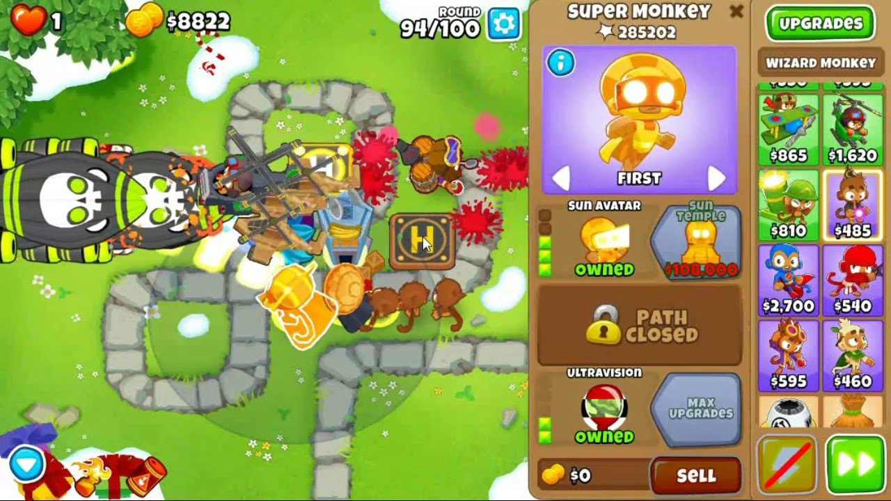 Bloons Tower Defense 6 Version 7 0 - Monkey Meadow CHIMPS