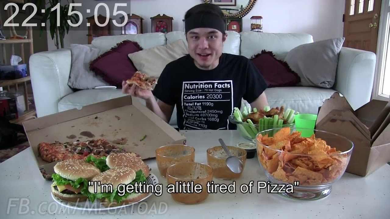 20,000 Calorie Superbowl Challenge Wings, Doritos, Pizza.