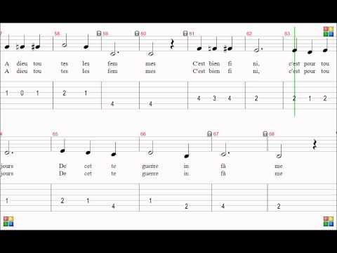La chanson de Craonne. Partition et tablature.