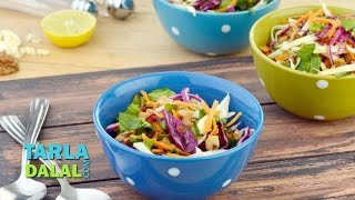 Garlicky Cabbage and Spinach Salad (Zero Oil Healthy Salad) by Tarla Dalal