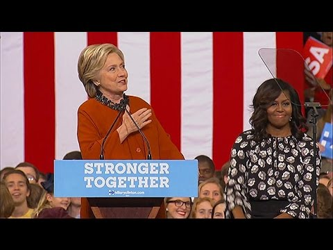 Hillary Clinton praises Michelle Obama: 'is there anyone more inspiring?'