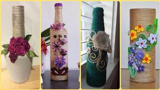 New Beautiful Quilling Jute Craft Ideas    Jute Wine Bottles Decoration    Jute Craft