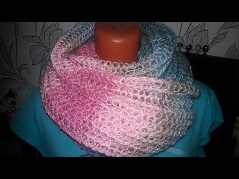 Как связать шарф из ангоры спицами