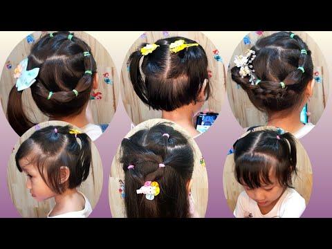 5 Kiểu Cột tóc dễ thương cho bé gái đi học đi chơi -  Cute Little Girls Hairstyle Tutorials #146