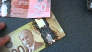 New Canadian 50 and 100 dollar bills.